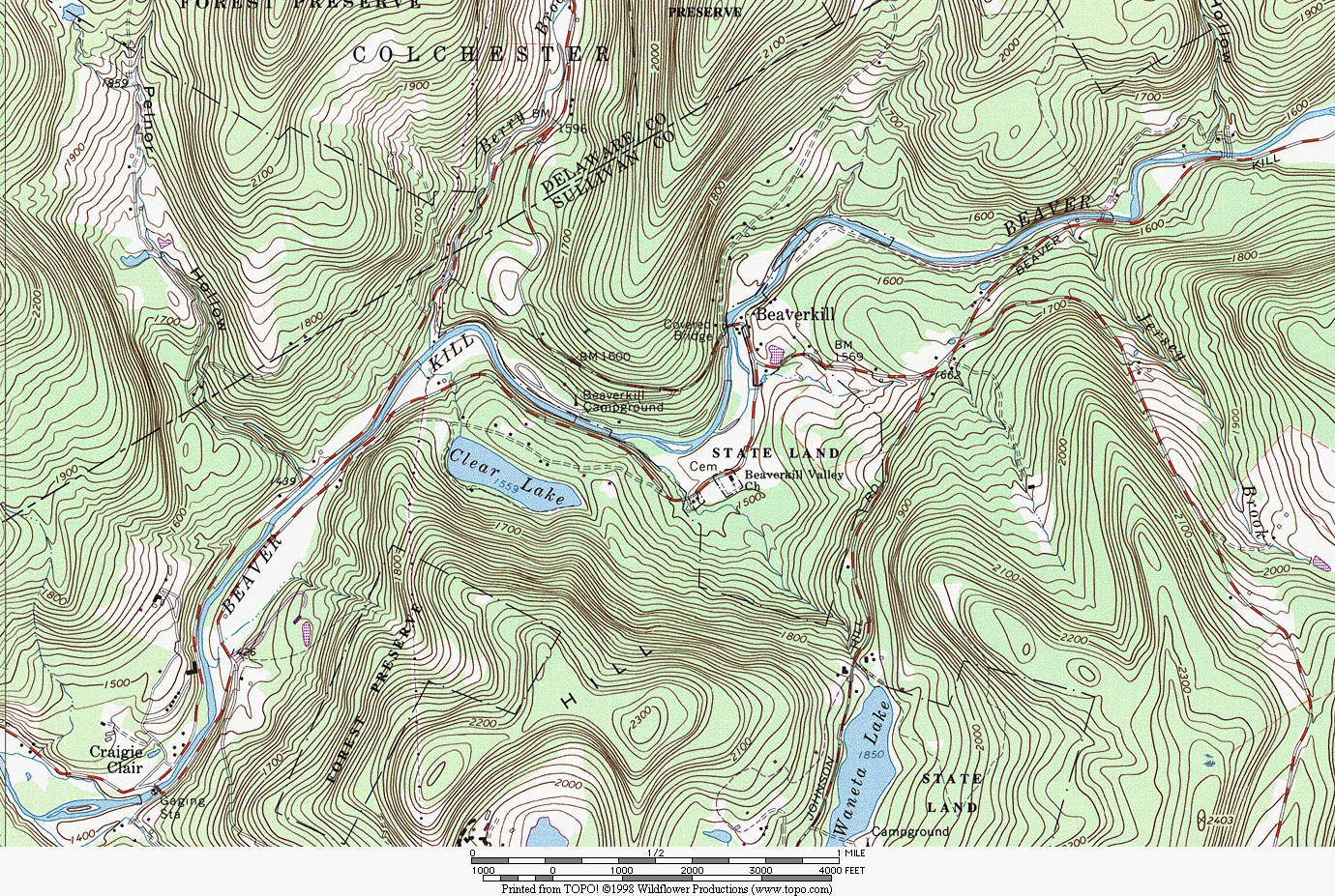 Topographic Map Of New England.Friends Of Beaverkill Community